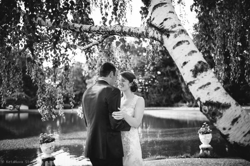 Perona Farms wedding - beautiful reaction from the first look of the bride and groom.