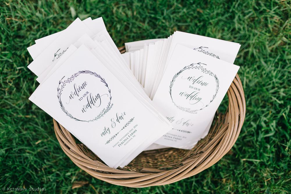 Perona Farms wedding - the invitation cards