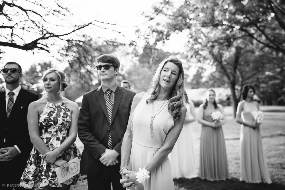 Perona Farms wedding - mom's reaction to see the daughter walk down the aisle.