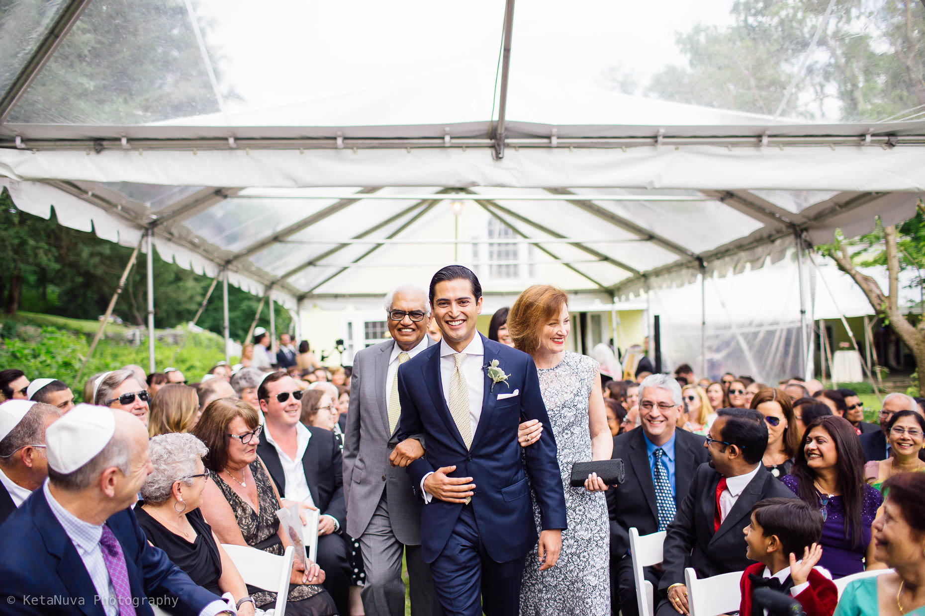 "Hudson Valley rustic wedding - Groom being led to the ceremony by his father and mother. "" width=""1860"" height="