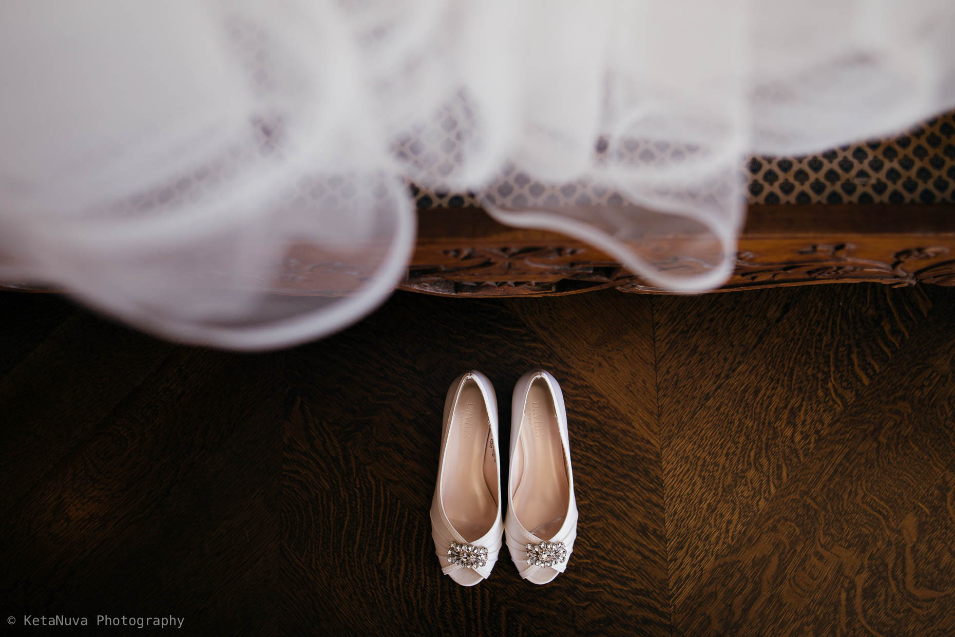 Creative picture of wedding shoes.