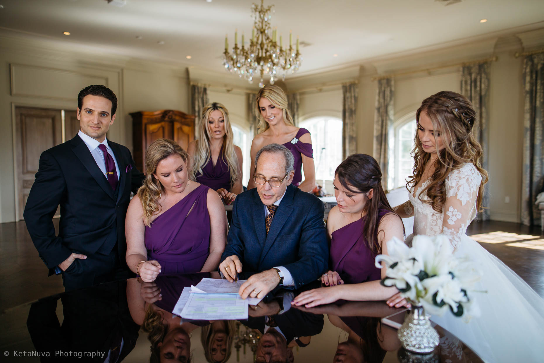 The signing of the marriage certificate. Park Chateau, NJ.