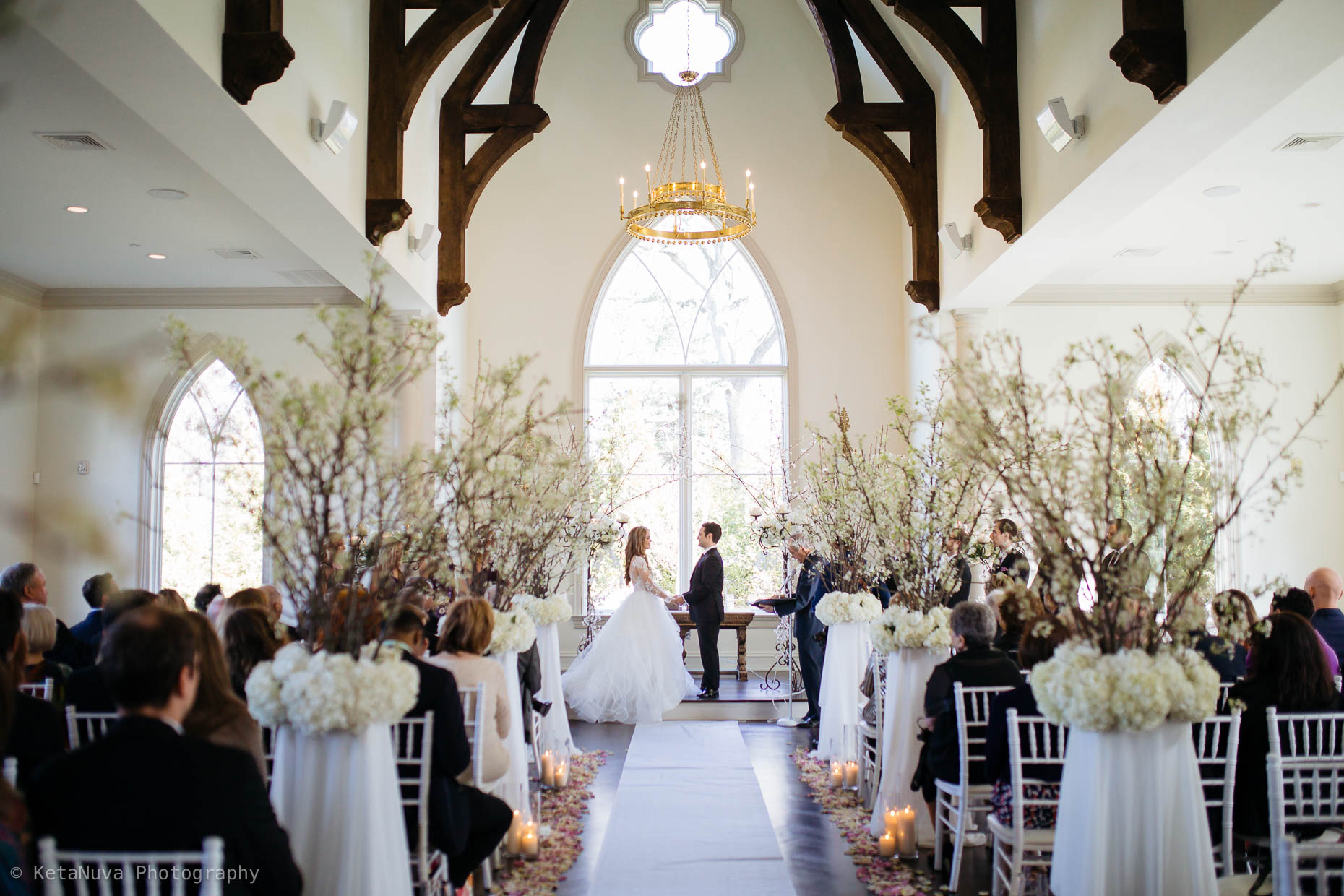 Wedding ceremony at the Park Chateau Estate Chapel.