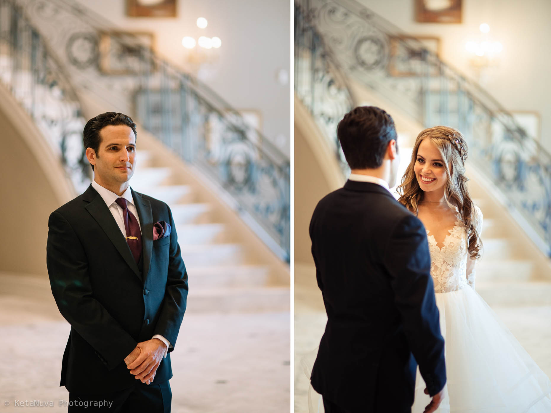 Bride and groom seeing each other for the first look!